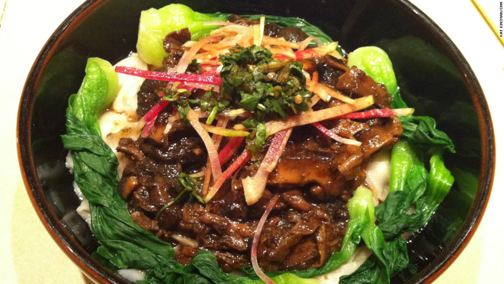 Chef Jose Andres melds Chinese and Mexican culinary traditions at China Poblano inside the Cosmopolitan Hotel and Casino. Pictured: Wild mushrooms, huitlacoche (corn fungus), bok choy and knife-shaved noodles.