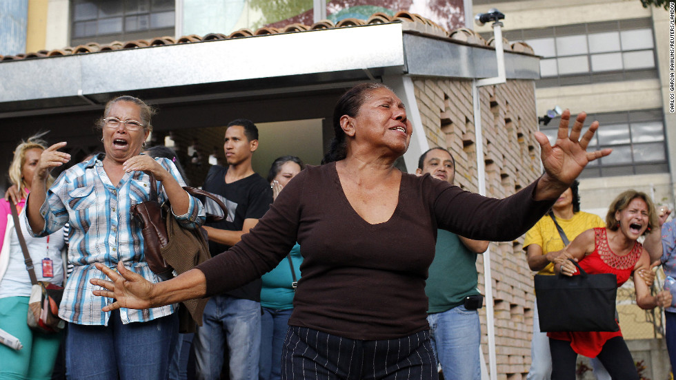 Many people in Caracas wept openly as news of Chavez's death spread on March 5.