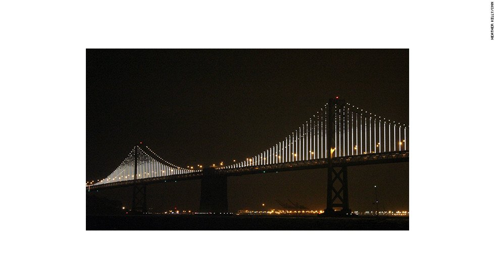 San Francisco's Bay Bridge debuted its new look on Tuesday. The 1.8 mile long, animated LCD light installation will stay up for the next two years.
