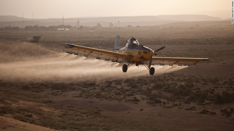 A light plane sprays pesticides in Kmehin on Wednesday.