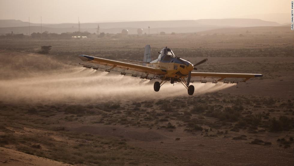 A light plane sprays pesticides in Kmehin on Wednesday.