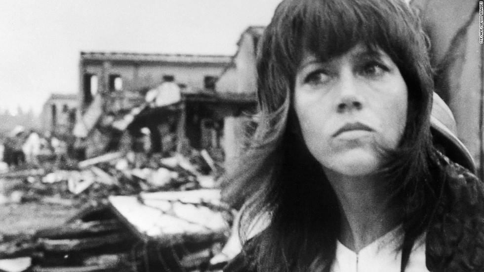 In 1972, actress Jane Fonda visited North Vietnam in protest of the Vietnam War. Fonda's visit to Hanoi was marked by a number of controversial events, including a photo showing Fonda seated on an anti-aircraft battery used against U.S. forces. Fonda later apologized for the photo. In this photo, Fonda tours destruction in Hanoi on July 25, 1972.