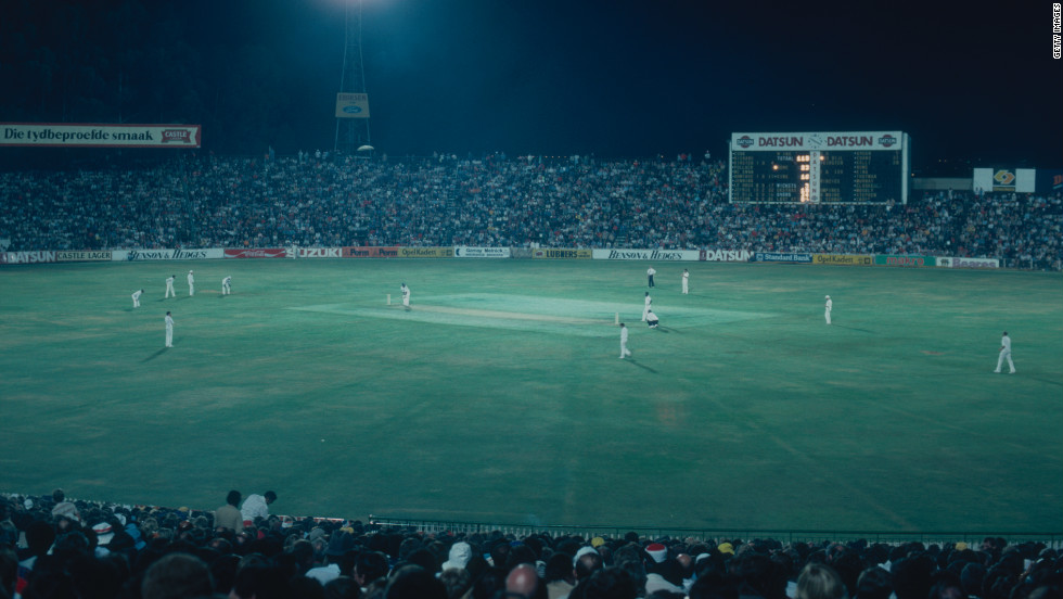 "A night match between the West Indies tourists and South Africa at the Wanderers Club in Johannesburg in February 1983. The 1982-83 tour ended with South Africa winning the one-day series 4-2 while the ""Test"" series was drawn 1-1."