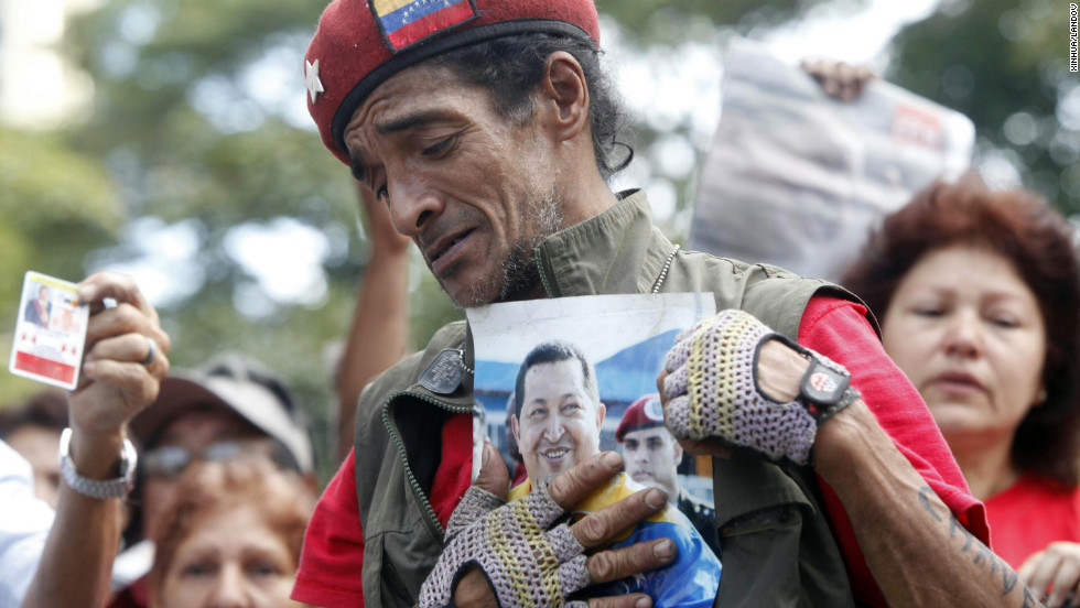 A man reacts at Plaza Bolivar of Caracas, on March 6.