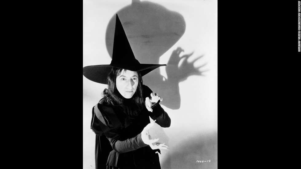 Margaret Hamilton poses as the Wicked Witch for a publicity shot. The character's hair was changed for the final production of the film.