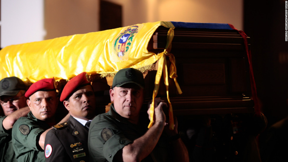 Chavez's coffin is carried Wednesday, March 6,  to the Military Academy for his funeral in Caracas.