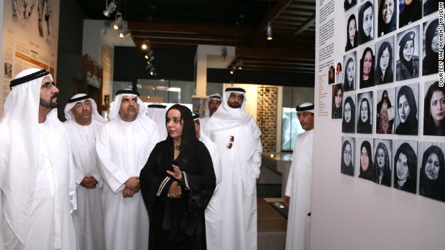 Rafia Ghubash with Dubai's ruler Sheikh Mohammed bin Rashid Al Maktoum at the official opening of the museum, in a room dedicated to the poet Ousha Bint Khalifa