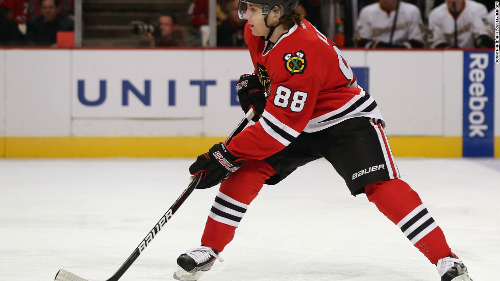No. 88 Patrick Kane of the Chicago Blackhawks began playing with the team in 2007.