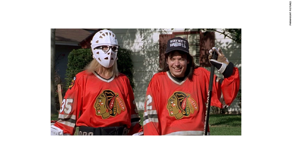 "Garth (Dana Carvey) and Wayne (Mike Myers) wore Blackhawks jerseys while playing street hockey in the 1992 movie ""Wayne's World."" Game on!"