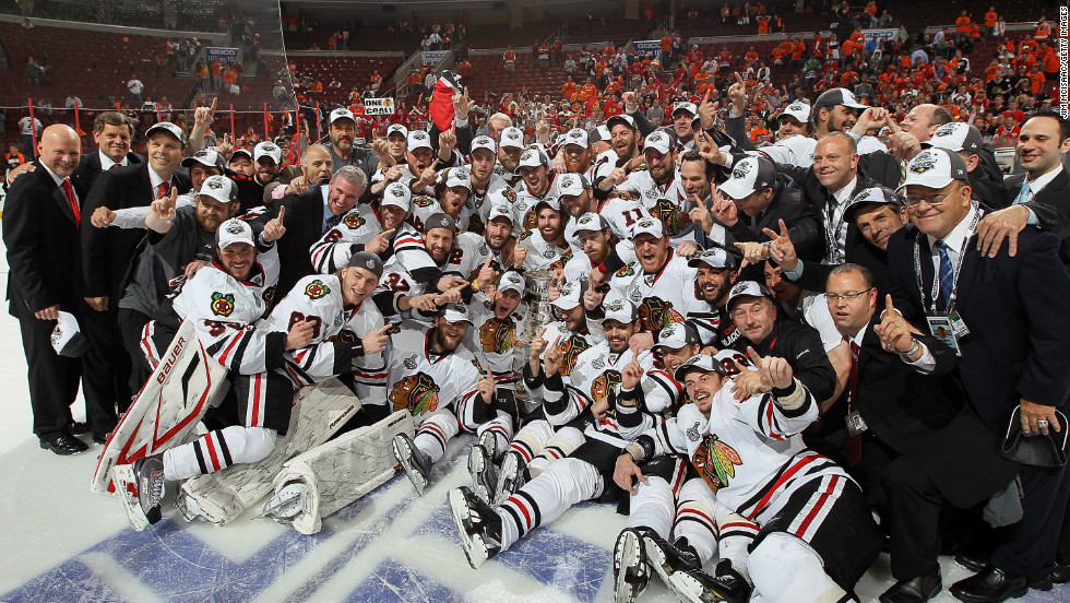 The Chicago Blackhawks pose for a team photo after winning the Stanley Cup in 2010.