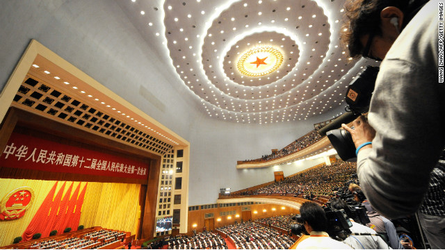 Inside the Great Hall of the People during the opening session of the National People's Congress , Beijing, March 5, 2013.