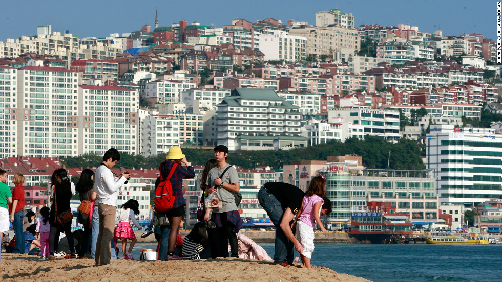 Busan is Asia's ninth most innovative city. Festival goers enjoy the PIFF Plaza during the 15th Pusan International Film Festival -- the biggest in Asia.