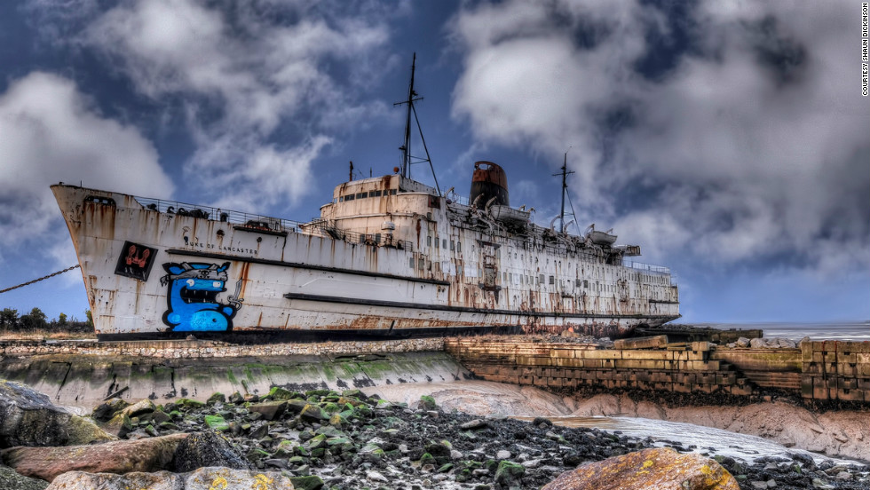 Former cruise liner, the <em>Duke of Lancaster</em>, was docked on the banks of the Dee Estuary in north Wales three decades ago. It has now become a canvas for graffiti artists from across Europe.