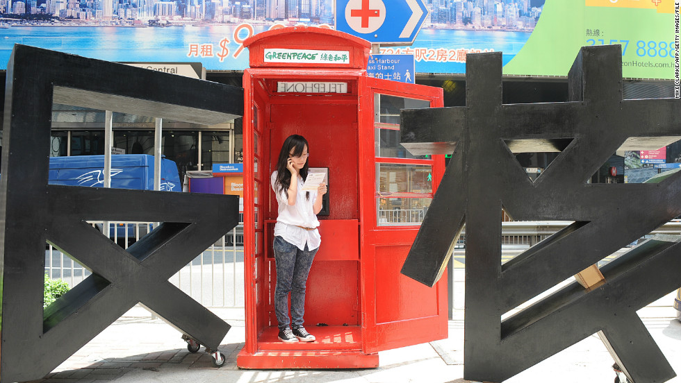 A Hong Kong phone box was commandeered by Greenpeace in 2011 to encourage passers-by to call their government and ask them to ban nuclear weapons.