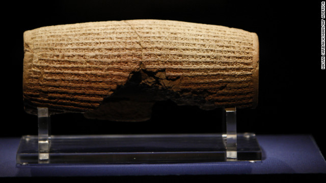 Persian King Cyrus declared his doctrine of coexistence and tolerance on the football-size clay cylinder in the sixth century B.C.