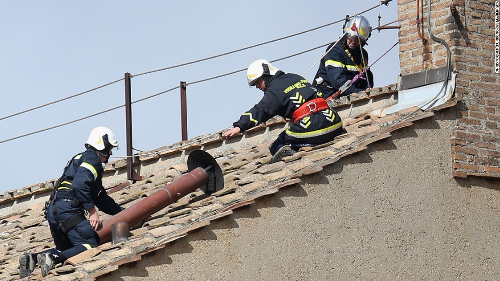 The chimney that will emit the smoke was installed by members of the Vatican Fire Brigade on March 9.