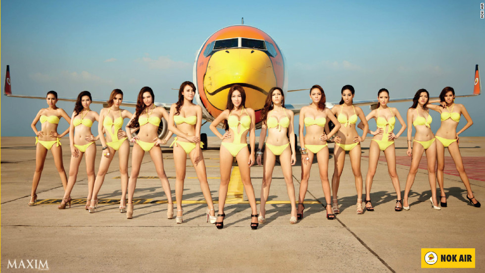 "Maxim models strike a pose for Thailand-based low-cost carrier Nok Air. CEO Patee Sarasin says it's ""hard to measure"" if such advertising boosts sales."