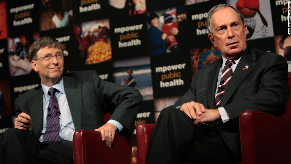 "Microsoft co-founder Bill Gates and Bloomberg take questions at a news conference announcing their charitable support for a new global anti-smoking initiative in July 2008. Gates and Bloomberg announced their combined contribution of half a billion dollars to combat global smoking. <a href=""http://www.cnn.com/2012/05/31/health/gallery/bloomberg-health-initiatives"" target=""_blank"">See more on Bloomberg's controversial health bans</a>"