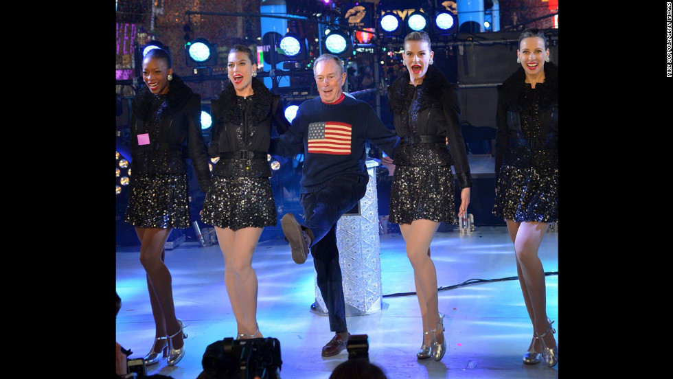 Bloomberg kicks with the Rockettes in Times Square on New Year's Eve 2013.