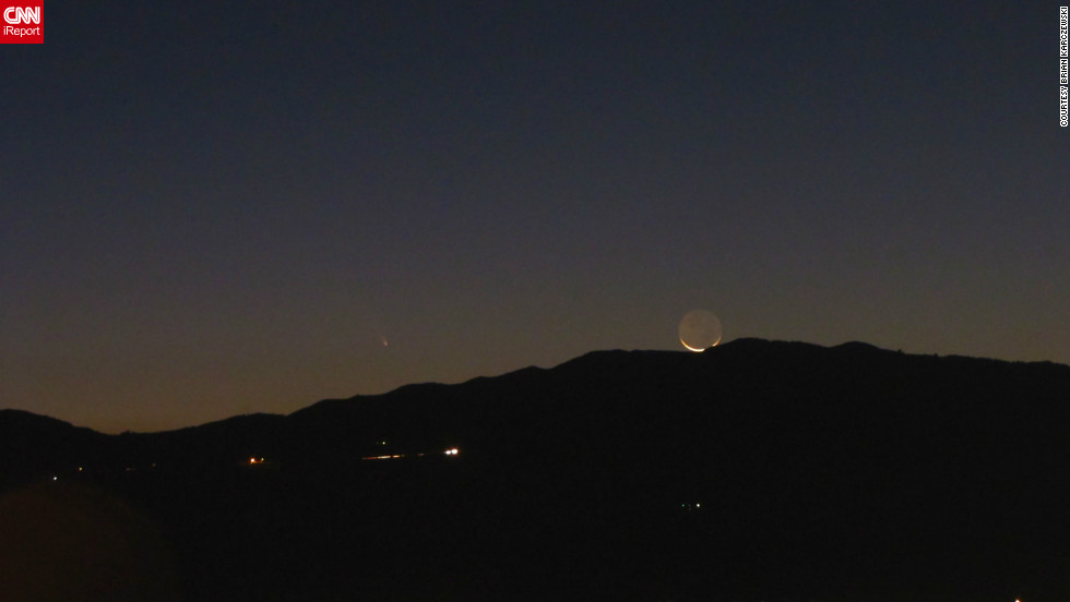 "Brian Karczewski, 24, captured the comet alongside the crescent moon overlooking the Ortega Mountains in California. ""I love astronomy and find astrophotography a good challenge,"" he said. ""I was very excited to capture the comet next to the moon. Never photographed a comet before!"""