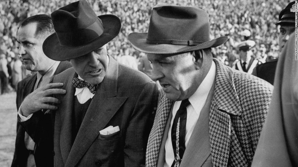 """Francis William """"Frank"""" Leahy -- One of the great college football coaches led Notre Dame to glory in the 1940s and '50s. Here, Lehy, left, congratulates Michigan State head coach Biggie Munn after a game in 1950."""