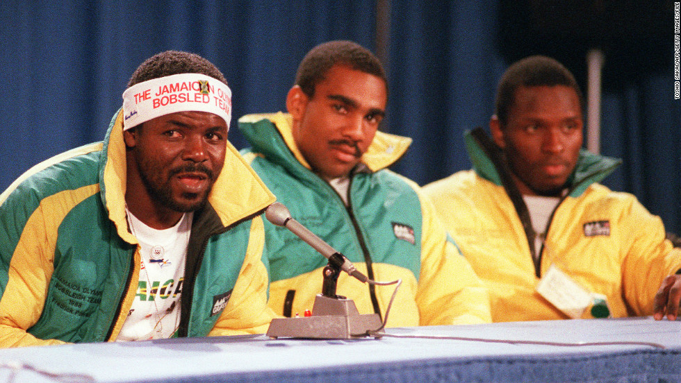 Frederick Powell (L) did the team's PR duties as they became huge stars at the 1988 Games while Michael White (C) and  Allen Caswell (R) were joined by Dudley and Chris Stokes for the four-man competition that captivated the world.