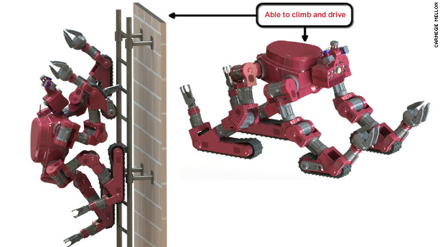 Carnegie Mellon's CHIMP (CMU Highly Intelligent Mobile Platform) is ape-like, but with tank treads under all four limbs.