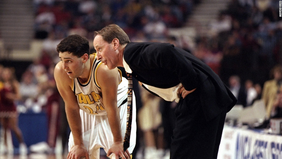Bryce Drew of the Valparaiso Crusaders talks to father and coach Homer Drew during a Midwest Regional game against the Florida State Seminoles in the second round of the tournament in Oklahoma City on March 15, 1998. Drew sunk a three-pointer with seconds to go to beat the Seminoles 83-77.