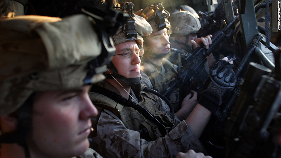 U.S. Marines prepare for a military operation at Camp Ramadi in Anbar province on January 14, 2007.