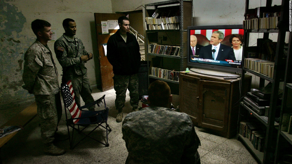 American forces in Ramadi watch President Bush deliver the annual State of the Union address on January 24, 2007. The president announced plans to increase the size of the U.S. military by 92,000 troops.