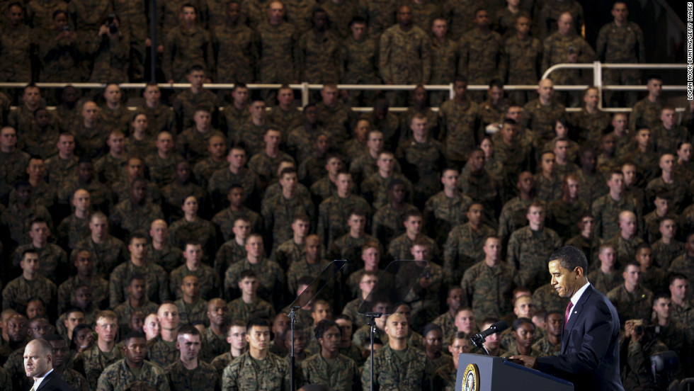President Barack Obama delivers an address on February 27, 2009, at the largest Marine post on the East Coast, Camp Lejeune in North Carolina. In his speech, Obama outlined plans for the gradual withdrawal of U.S. troops in Iraq.