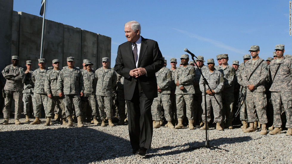 Secretary of Defense Robert Gates speaks with soldiers at a forward operating base in Kirkuk on December 11, 2009.
