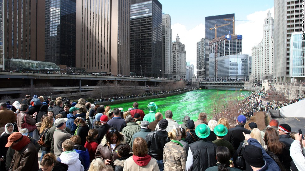 "<a href=""http://chicagoist.com/2012/03/16/how_the_chicago_river_was_dyed_gree.php#photo-1"" target=""_blank"">Chicago began dyeing its river green</a> to celebrate St. Patrick's Day in 1964. Today, it uses food coloring, which is environmentally safe, to turn the river green. The White House -- and many community centers across the country -- will dye the water in their fountains green to commemorate the holiday."