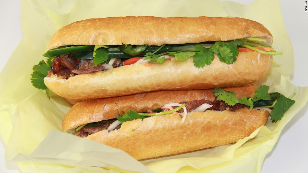 The Vietnamese bánh mì is a monument to balance. Fillings such as sweet barbecued pork or tofu mix perfectly with a filling of pickled carrots and daikon radish, cucumber, cilantro, mayo and jalapeño. Pictured: bánh mì from Saigon Vietnam Deli in Seattle.