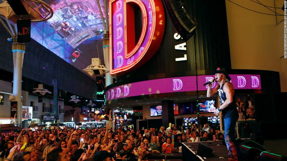 Michaels sings at the grand opening of The D Las Vegas in October 2012.