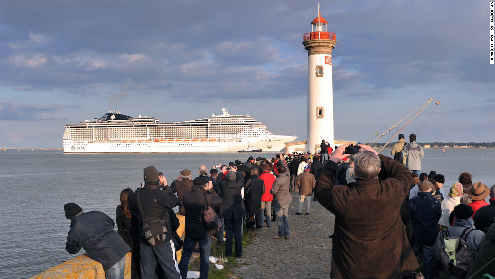 MSC Preziosa departs the shipyard in Saint Nazaire, France following its re-flagging ceremony and delivery to ship owner MSC.