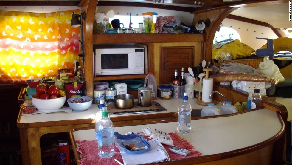 The crew prepared meals in the catamaran's intimate galley.