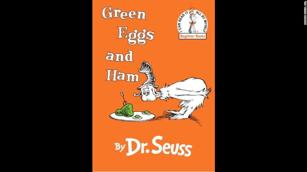Dr. Suess' floppy-hatted character decides after much fuss that he does indeed like green eggs and ham, in this famous children's book.