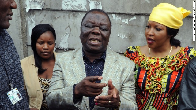Prime Minister Morgan Tsvangirai addresses the media after casting his vote in the referendum on March 16.