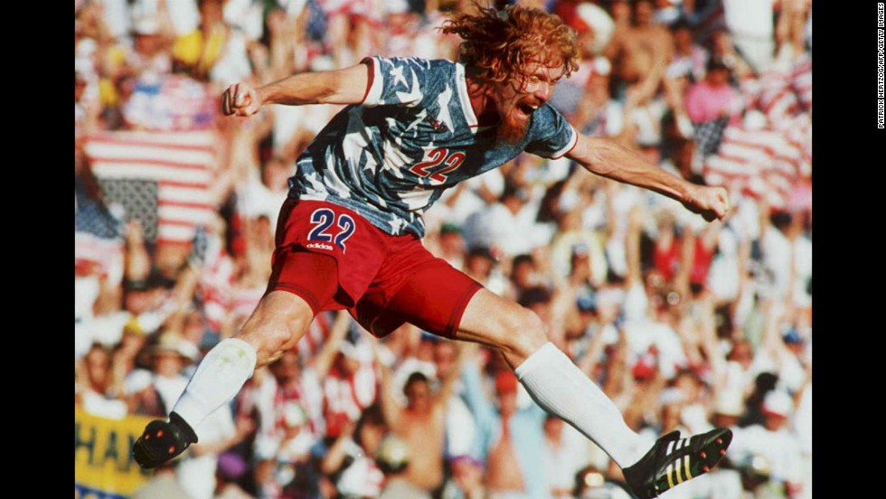 It was hard to miss the stars of the U.S. national team in the 1994 World Cup. Clearly, someone was fond of acid-washed denim. Alexi Lalas shoots into the sky while celebrating a win.