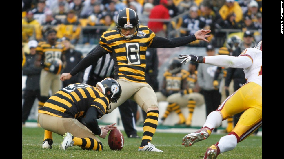 Some throwbacks should just be thrown away, especially if they make your players look like giant bumblebees. It's a good thing the Pittsburgh Steelers only occasionally pollinate ... er, play in these. Shaun Suisham kicks against the Washington Redskins in October.
