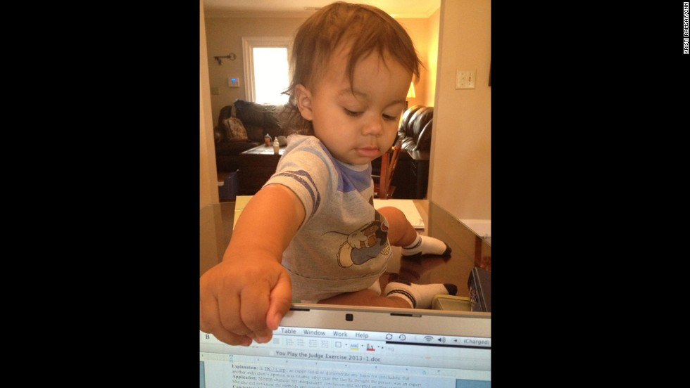 My son lets me know when it is time for a break -- usually by climbing on the table and closing my computer.