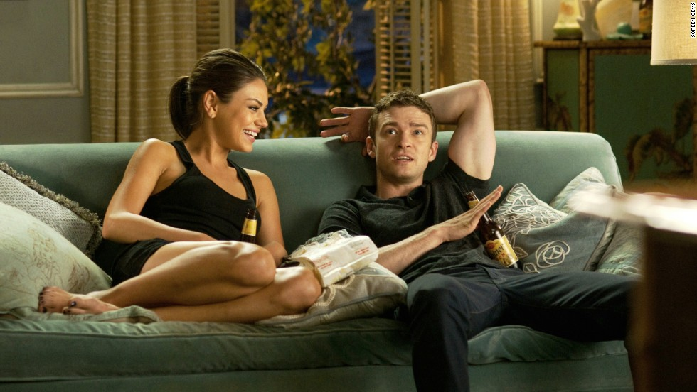 "Mila Kunis and Timberlake play friends-turned-lovers in 2011's ""Friends with Benefits."""