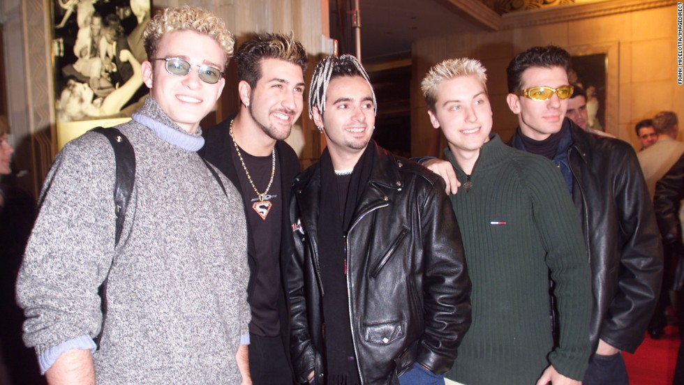 'N Sync, with Timberlake at far left, arrives at the 1998 Billboard Music Awards party in Las Vegas.