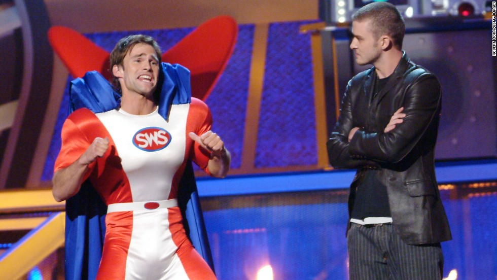 Seann William Scott and Timberlake host the 2003 MTV Movie Awards in Los Angeles.