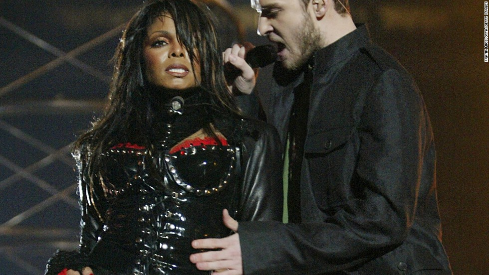 Timberlake performs with Janet Jackson during the 2004 Super Bowl halftime show in Houston. A surprise involving Jackson's costume at the end of the performance raised quite a ruckus.
