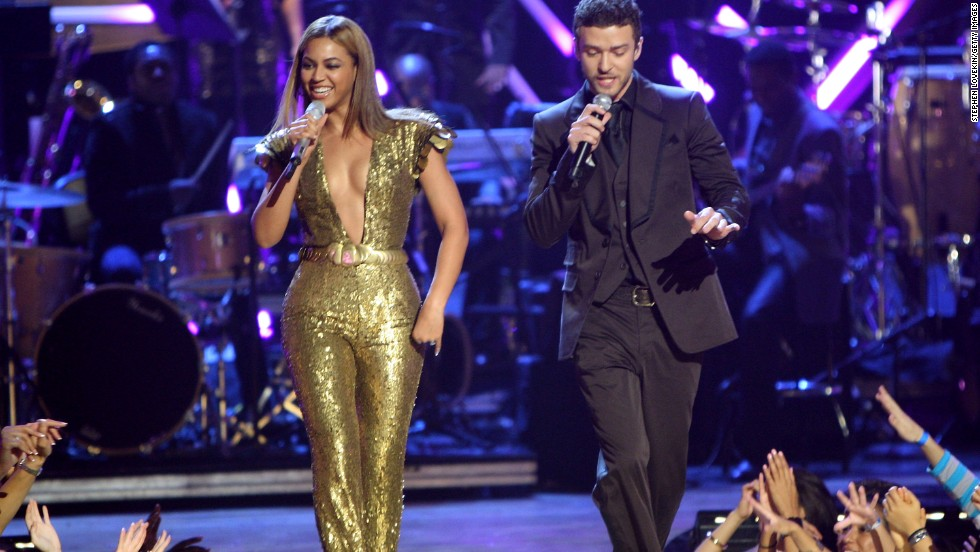In 2008, Timberlake and Beyonce perform at Conde Nast Media Group's Fashion Rocks event in New York.