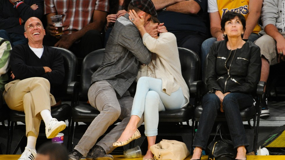 "Timberlake and Biel smooch for the cameras at the Staples Center in 2012. Despite remaining mum on the topic, the pair reportedly got <a href=""http://marquee.blogs.cnn.com/2012/05/28/festive-engagement-party-for-jessica-biel-and-justin-timberlake/"" target=""_blank"">engaged</a> in December 2011."