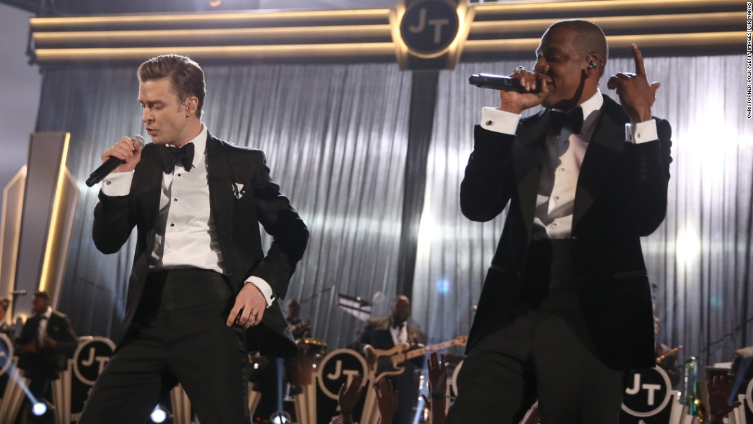 "Timberlake and Jay-Z perform ""Suit & Tie"" at the 2013 Grammy Awards. Timberlake's album ""The 20/20 Experience"" was a big seller in 2013, and he also released a second volume, ""The 20/20 Experience - 2 of 2."""