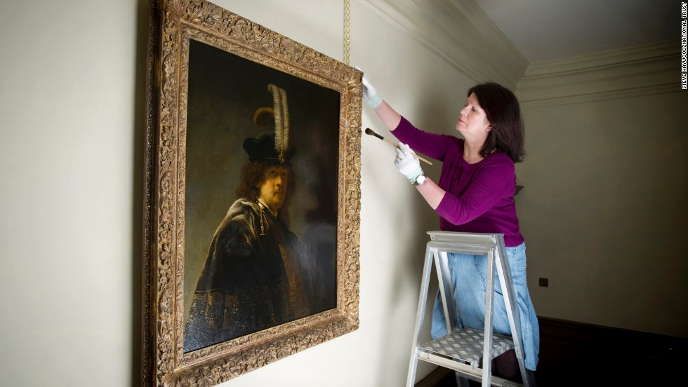 The picture is on display at the National Trust's Buckland Abbey in Devon, southwest England, and will be sent for further tests and cleaning later this year.